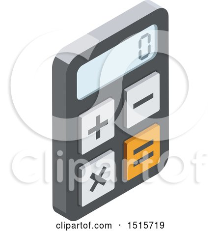 Clipart of a 3d Isometric Calculator Icon - Royalty Free Vector Illustration by beboy