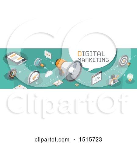 Clipart of a Digital Marketing Website Banner - Royalty Free Vector Illustration by beboy