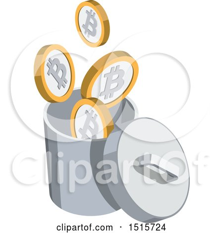 Clipart of a 3d Isometric Bitcoin and Bin Financial Icon - Royalty Free Vector Illustration by beboy