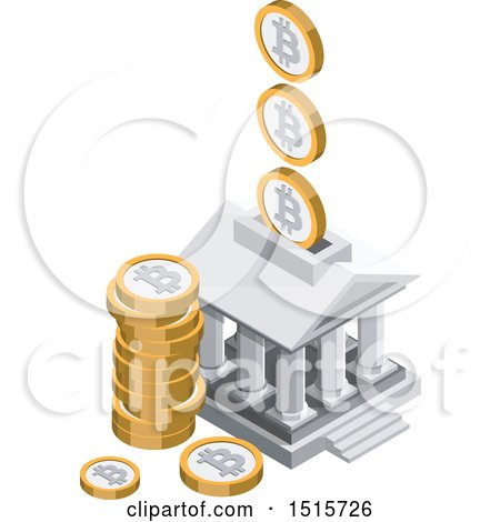 Clipart of a 3d Isometric Bitcoin Bank Financial Icon - Royalty Free Vector Illustration by beboy