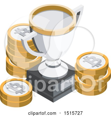 Clipart of a 3d Isometric Bitcoin and Trophy Financial Icon - Royalty Free Vector Illustration by beboy