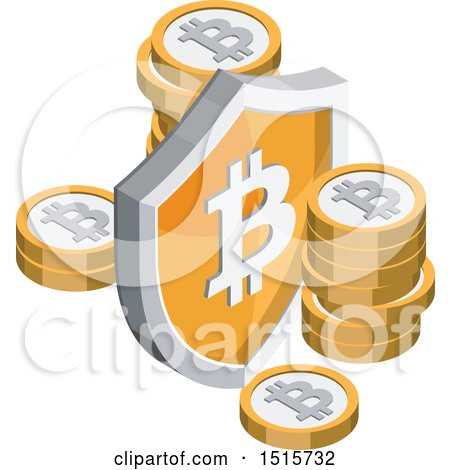 Clipart of a 3d Isometric Bitcoin and Shield Financial Icon - Royalty Free Vector Illustration by beboy