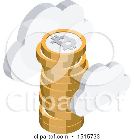 Clipart of a 3d Isometric Bitcoin and Cloud Financial Icon - Royalty Free Vector Illustration by beboy
