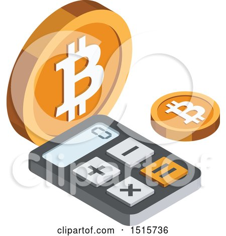 Clipart of a 3d Isometric Bitcoin and Calculator Financial Icon - Royalty Free Vector Illustration by beboy