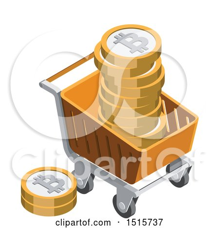Clipart of a 3d Isometric Bitcoin and Shopping Cart Financial Icon - Royalty Free Vector Illustration by beboy