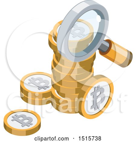 Clipart of a 3d Isometric Bitcoin and Magnifying Glass Financial Icon - Royalty Free Vector Illustration by beboy