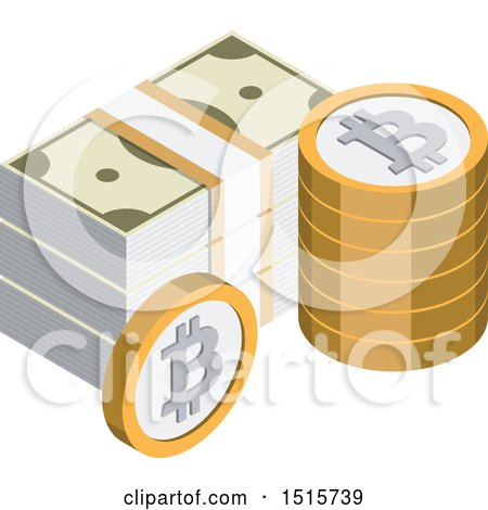 Clipart of a 3d Isometric Bitcoin and Cash Financial Icon - Royalty Free Vector Illustration by beboy
