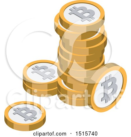 Clipart of a 3d Isometric Bitcoin Financial Icon - Royalty Free Vector Illustration by beboy