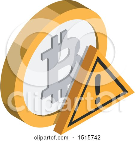 Clipart of a 3d Isometric Bitcoin Warning Financial Icon - Royalty Free Vector Illustration by beboy