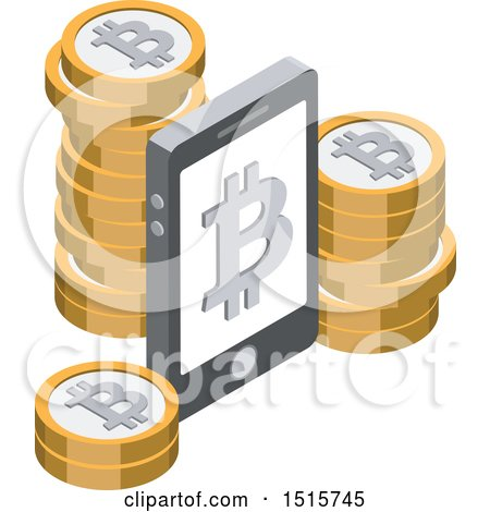 Clipart of a 3d Isometric Bitcoin and Smart Phone Financial Icon - Royalty Free Vector Illustration by beboy