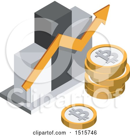Clipart of a 3d Isometric Bitcoin Bar Graph Financial Icon - Royalty Free Vector Illustration by beboy
