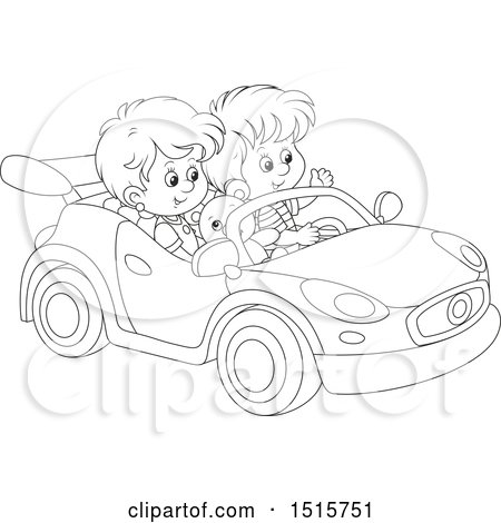 Clipart of a Black and White Boy and Girl Playing in a Car - Royalty Free Vector Illustration by Alex Bannykh
