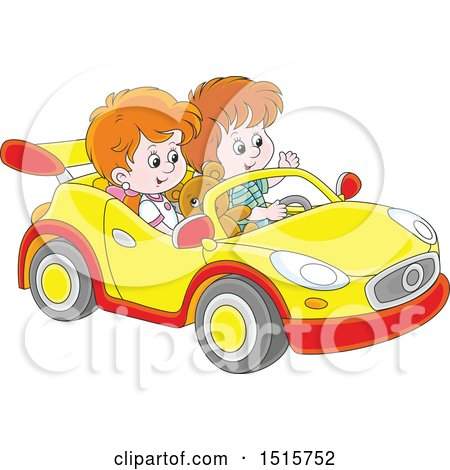 Clipart of a White Boy and Girl Playing in a Car - Royalty Free Vector Illustration by Alex Bannykh