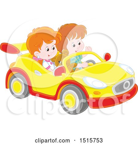 Clipart of a Caucasian Boy and Girl Playing in a Car - Royalty Free Vector Illustration by Alex Bannykh