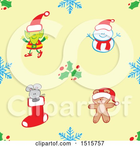 Clipart of a Seamless Christmas Pattern Background of a Teddy Bear, Mouse, Elf and Snowman with Snowflakes and Holly - Royalty Free Vector Illustration by Zooco