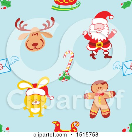 Clipart of a Seamless Christmas Pattern Background of a Reindeer, Santa, Sleigh, Candy Cane, Envelope, Rabbit and Gingerbread Man - Royalty Free Vector Illustration by Zooco