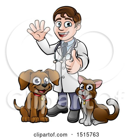 Clipart of a Cartoon Happy May Veterinarian Standing with a Dog and Cat - Royalty Free Vector Illustration by AtStockIllustration