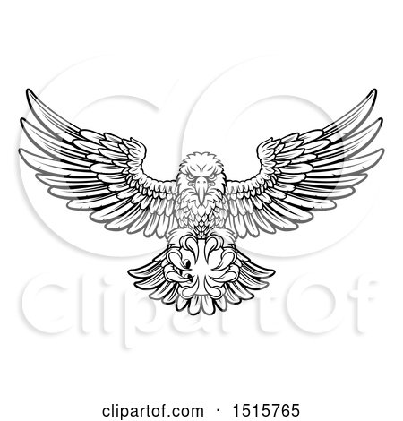 Clipart of a Black and White Swooping American Bald Eagle with a Bowling Ball in His Talons - Royalty Free Vector Illustration by AtStockIllustration