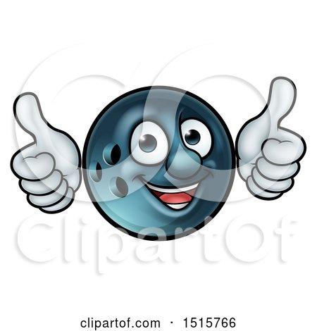 Clipart of a Happy Bowling Ball Mascot Giving Two Thumbs up - Royalty Free Vector Illustration by AtStockIllustration