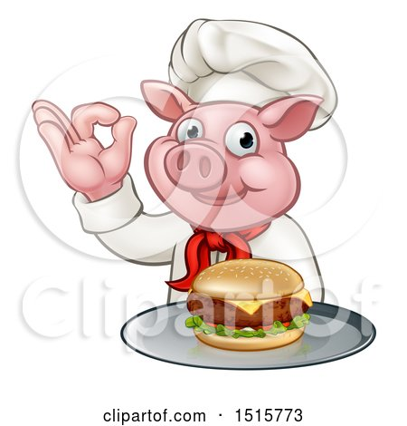 Clipart of a Chef Pig Holding a Cheese Burger on a Tray and Gesturing Okay - Royalty Free Vector Illustration by AtStockIllustration