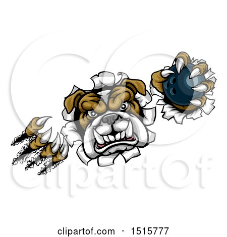 Clipart of a Tough Bulldog Monster Shredding Through a Wall with a Bowling Ball in One Hand - Royalty Free Vector Illustration by AtStockIllustration