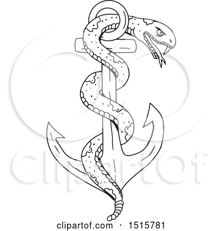 Clipart of a Sketched Rattlesnake Coiled on an Anchor - Royalty Free Vector Illustration by patrimonio