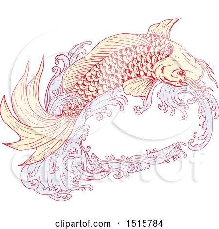 Clipart of a Sketched Koi Fish Jumping with Waves - Royalty Free Vector Illustration by patrimonio