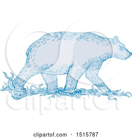 Clipart of a Sketched Walking Blue Polar Bear in Profile - Royalty Free Vector Illustration by patrimonio