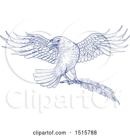 Clipart of a Sketched Blue Raven Flying with a Quill - Royalty Free Vector Illustration by patrimonio
