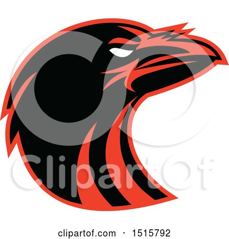 Clipart of a Black and Red Raven Head in Profile - Royalty Free Vector Illustration by patrimonio