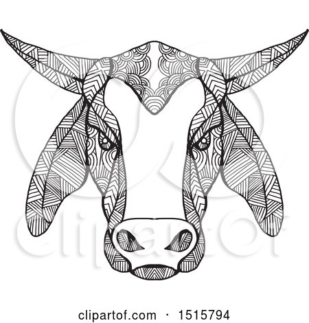Clipart of a Black and White Zentangle Brahman Bull Head - Royalty Free Vector Illustration by patrimonio