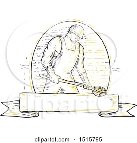 Clipart of a Foundry Iron Smelting Worker Holding a Steel Ladle over a Banner - Royalty Free Vector Illustration by patrimonio