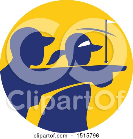 Clipart of a Silhouetted Caddy and Golfer Pointing in a Yellow and Blue Circle - Royalty Free Vector Illustration by patrimonio
