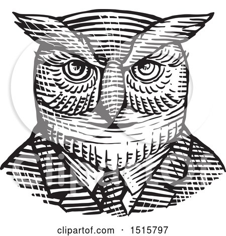 Clipart of a Retro Woodcut Hipster Great Horned Owl in a Suit and Tie - Royalty Free Vector Illustration by patrimonio