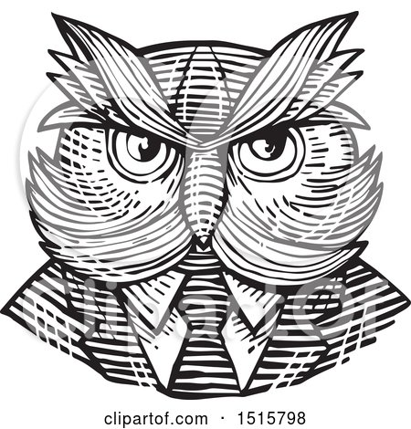 Clipart of a Retro Woodcut Hipster Owl in a Suit and Tie - Royalty Free Vector Illustration by patrimonio