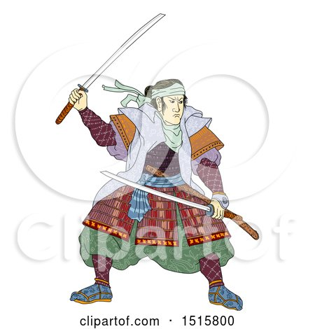 Clipart of a Samurai Warrior with Katana Sword, on a White Background - Royalty Free Illustration by patrimonio