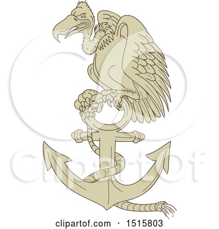 Clipart of a Buzzard or Turkey Vulture Bird Perched on an Anchor - Royalty Free Vector Illustration by patrimonio