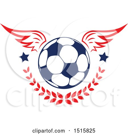 Clipart of a Winged Soccer Ball with Stars and a Laurel - Royalty Free Vector Illustration by Vector Tradition SM