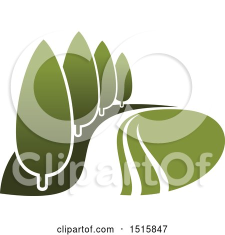 Clipart of a Gradient Green Park with Trees - Royalty Free Vector Illustration by Vector Tradition SM