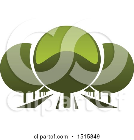 Clipart of a Gradient Green Park with Round Trees - Royalty Free Vector Illustration by Vector Tradition SM