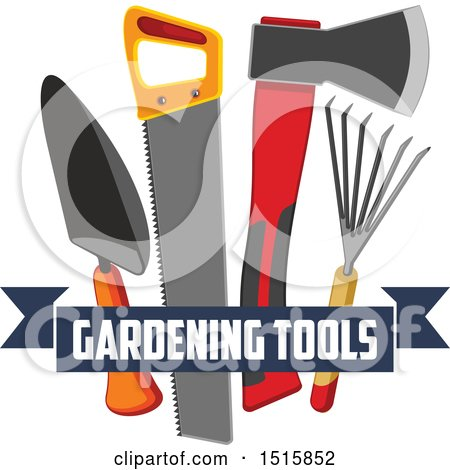 Clipart of a Text Banner with Gardening Tools - Royalty Free Vector Illustration by Vector Tradition SM