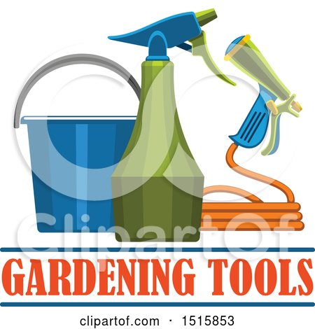 Clipart of Text with Gardening Tools - Royalty Free Vector Illustration by Vector Tradition SM