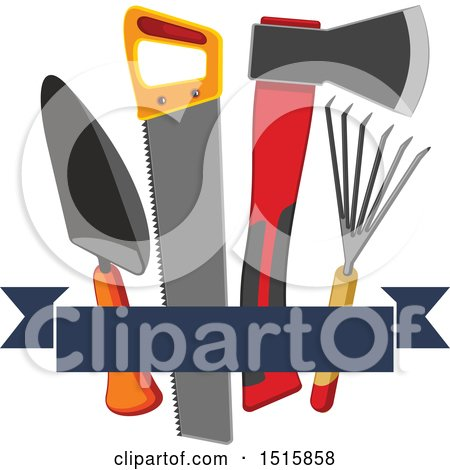 Clipart of a Banner with Gardening Tools - Royalty Free Vector Illustration by Vector Tradition SM