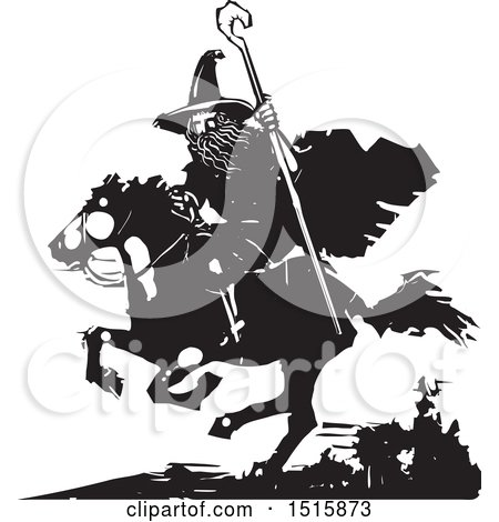 Clipart of a Wizard Holding a Staff and Riding a Horse, Black and White Woodcut - Royalty Free Vector Illustration by xunantunich