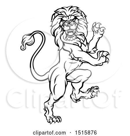 Clipart of a Black and White Heraldic Rampant Lion - Royalty Free Vector Illustration by AtStockIllustration