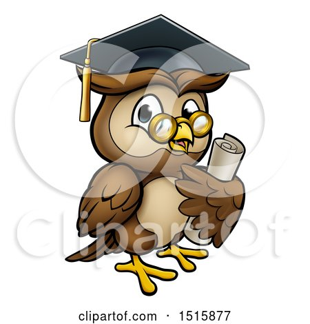Clipart of a Wise Professor Owl with Glasses and Graduation Cap, Holding a Diploma - Royalty Free Vector Illustration by AtStockIllustration
