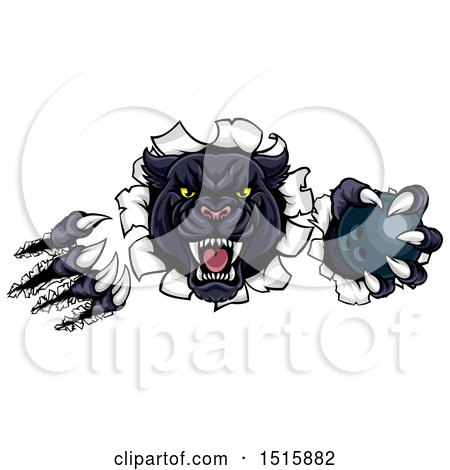 Clipart of a Black Panther Mascot Shredding Through a Wall with a Bowling Ball - Royalty Free Vector Illustration by AtStockIllustration