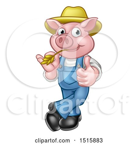 Clipart of a Happy Farmer Pig Mascot Wearing a Straw Hat, Giving a Thumb up and Chewing on Straw - Royalty Free Vector Illustration by AtStockIllustration