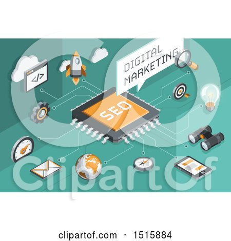 Clipart of a Digital Marketing Design with Icons on Green - Royalty Free Vector Illustration by beboy