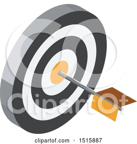 Clipart of a 3d Icon of a Dart in a Target - Royalty Free Vector Illustration by beboy
